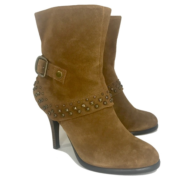 a.n.a. Brown Suede Leather Studded Ankle Boots